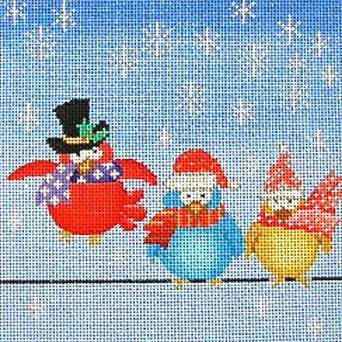 NEEDLEPOINT Handpainted Amanda Lawford CHRISTMAS Birds on Wire DC Designs 8x8