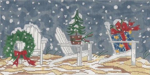 NEEDLEPOINT HandPainted CHRISTMAS Susan Wallace Barnes WINTER Adirondack Chairs