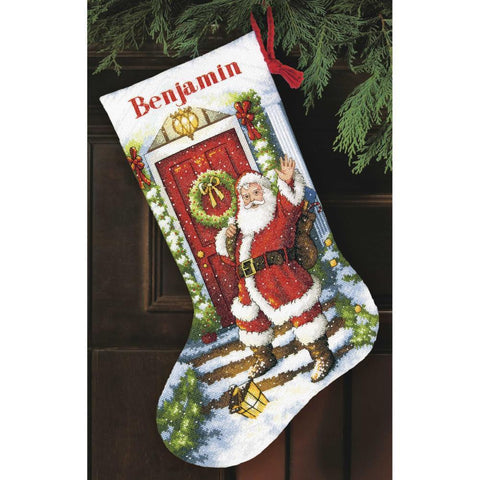 COUNTED CROSS STITCH Christmas Stocking KIT Welcome Santa Dimensions 16""
