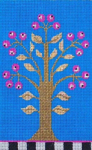 NEEDLEPOINT Handpainted Amanda Lawford PLUM TREE 4x6