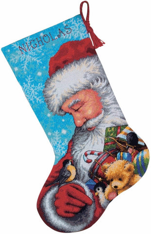 "Needlepoint Christmas STOCKING KIT Santa and Toys Dimensions 16"" Long"