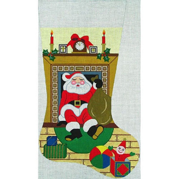 NEEDLEPOINT HANDPAINTED Amanda Lawford Christmas Stocking SANTA in FIREPLACE