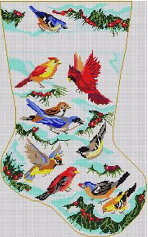 NEEDLEPOINT Handpainted Christmas STOCKING Kooler Designs BIRDS Morning Meeting
