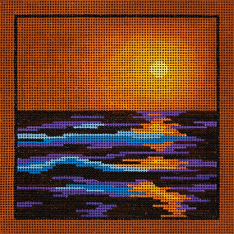 NEEDLEPOINT HandPainted JP Needlepoint Autumn SUNSET 7x7