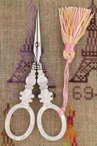 Embroidery Scissors Sajou Cross Motif Mother of Pearl 4-1/2""