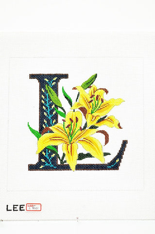 Needlepoint Handpainted Canvas LEE'S Initial LETTER L Lily 7 x 7 16M