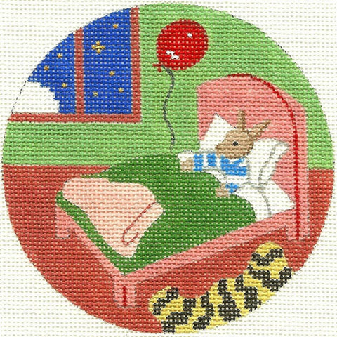 Needlepoint Handpainted Goodnight Moon Bunny in Bed Ornament 4.25""