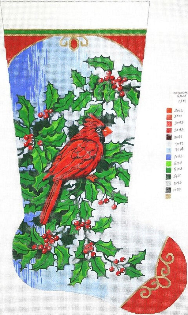 needlepoint handpainted canvas lee christmas stocking cardinal and holly 13m