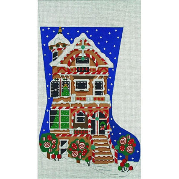 NEEDLEPOINT HANDPAINTED Amanda Lawford Christmas Stocking GINGERBREAD House