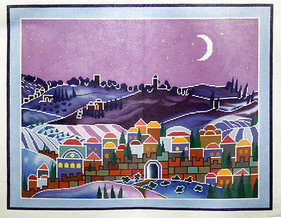 NEEDLEPOINT HANDPAINTED Canvas LEE Scenery Moonlit Village Sunset 13M