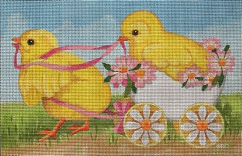 Needlepoint Handpainted Raymond Crawford 2 CHICKS and Egg EASTER 6x9