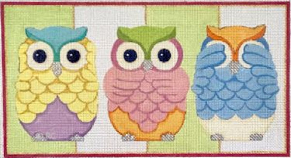 Needlepoint Handpainted Raymond Crawford 3 OWLS 13 Mesh