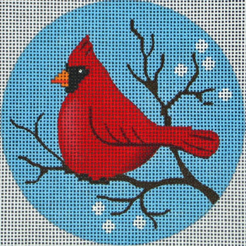 NEEDLEPOINT Handpainted Amanda Lawford CHRISTMAS ORNAMENT Cardinal DC Designs