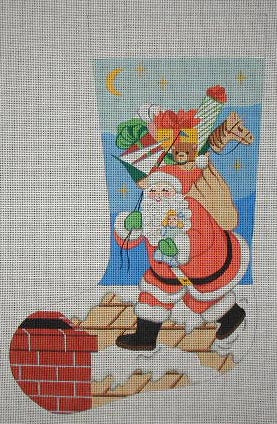 Needlepoint Handpainted Danji Christmas Stocking Santa on Roof