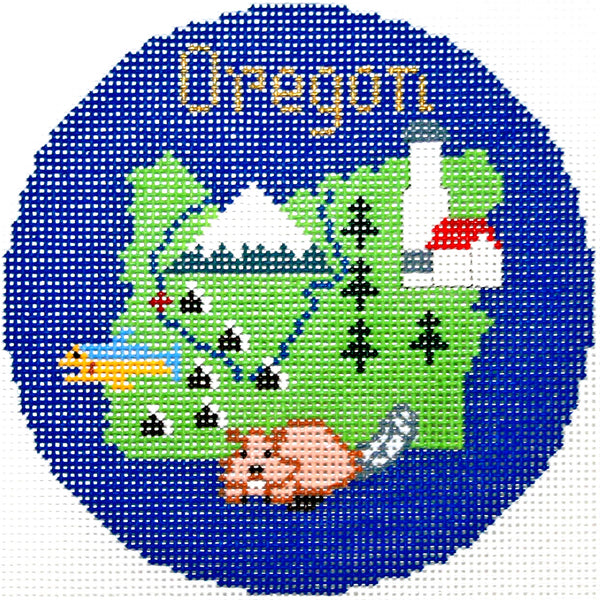 Needlepoint Handpainted Silver Needle Oregon Christmas Ornament