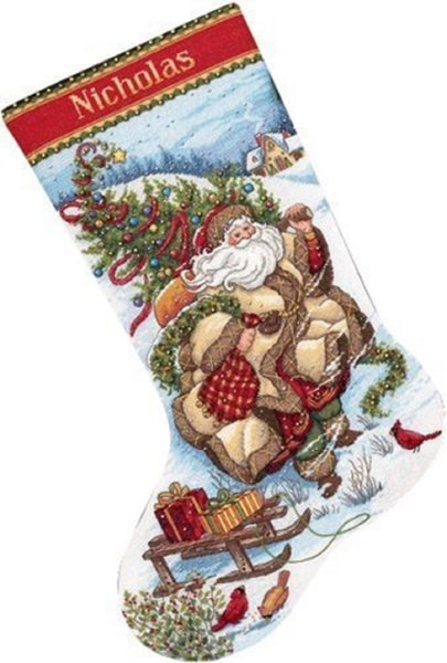 Counted Cross Stitch Christmas Stocking Santas Journey Dimensions Kit