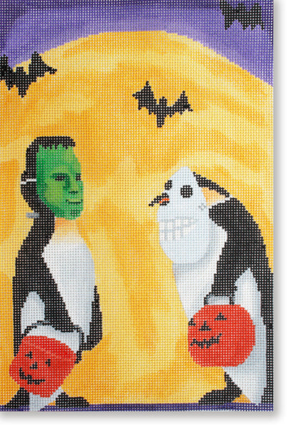 NEEDLEPOINT Handpainted Canvas HALLOWEEN Scott Church PENGUIN Halloween 8x12