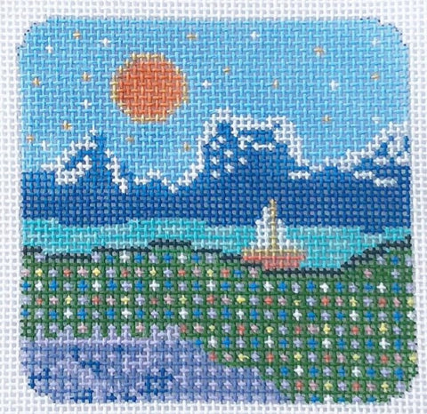 Needlepoint Handpainted Thorn Alexander A Perfect Day 3x3