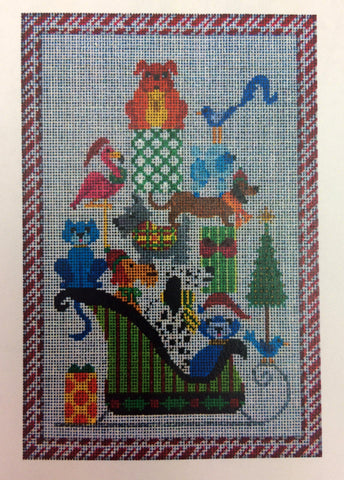 NEEDLEPOINT HandPainted JP Needlepoint CHRISTMAS A Sleigh Ride Together 8x12