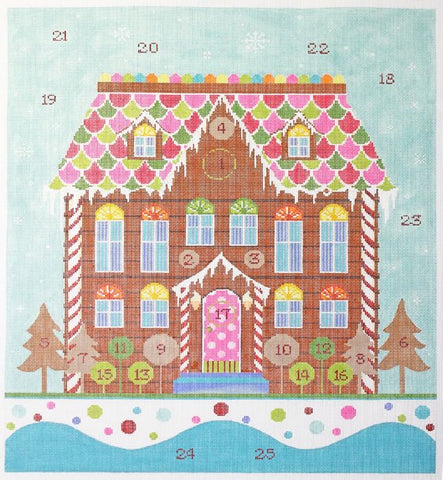 Needlepoint Handpainted KELLY CLARK Advent Gingerbread House FULL SET