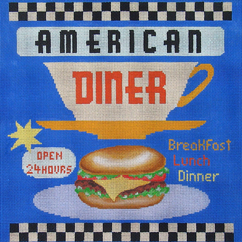 NEEDLEPOINT HandPainted Canvas Amanda Lawford AMERICAN Diner USA Patriotic 12x12