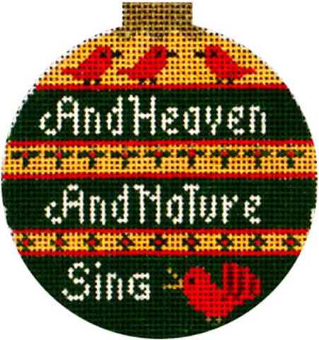Needlepoint Handpainted Amanda Lawford CHRISTMAS Heaven Nature Sing 3""