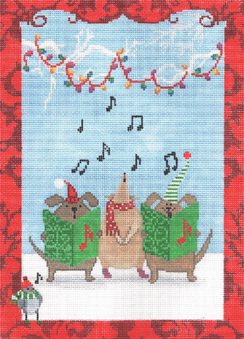 Needlepoint Handpainted CBK Animal CHRISTMAS Choir 7x10