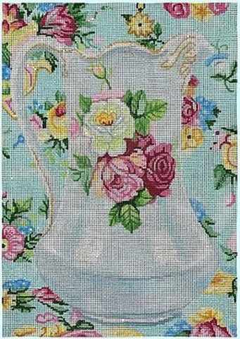 Needlepoint Handpainted Brenda Stofft Antique PITCHER w/ Roses 10x14