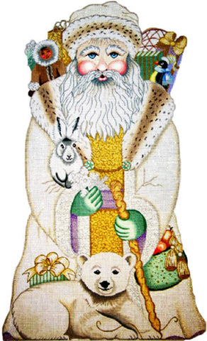 NEEDLEPOINT Handpainted Amanda Lawford CHRISTMAS Arctic Santa 15""