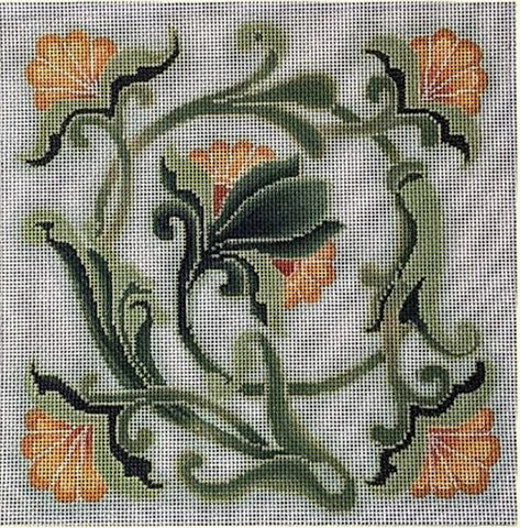 Needlepoint Handpainted Brenda Stofft Art Nouveau Yellow Flowers 10x10