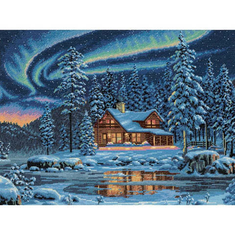 Counted Cross Stitch Dimensions Kit AURORA CABIN 16x12 Winter Cabin