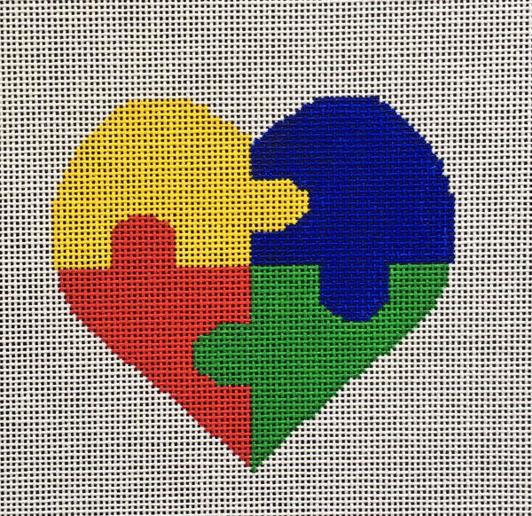 Needlepoint Handpainted Autism Heart Suzie Vallerie 4""