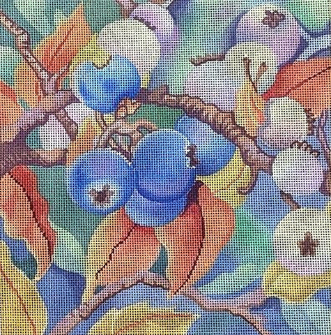 Needlepoint Handpainted Brenda Stofft Autumn Blueberries 18M 8x8