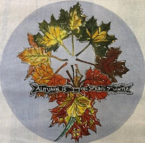 Needlepoint HandPainted Susan Wallace Barnes AUTUMN is Spring Wreath 14x14
