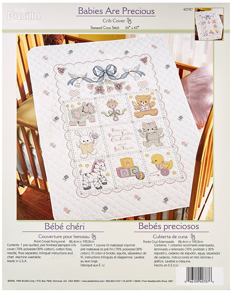 Stamped Cross Stitch Baby CRIB Cover KIT Babies are Precious Bucilla