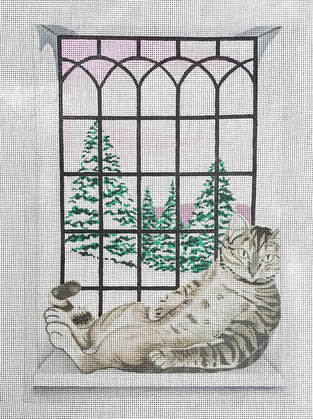 Needlepoint Handpainted Cindi Lynch Cat Baby its Cold Outside 8x11