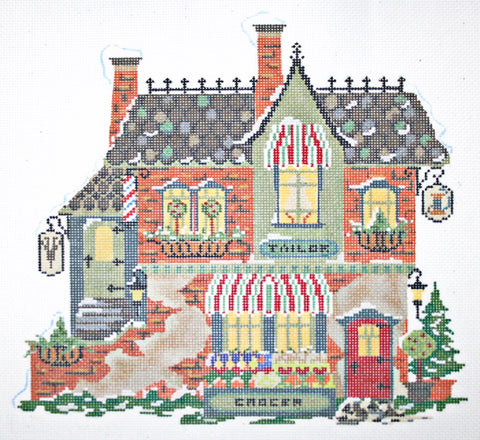 Needlepoint Handpainted KELLY CLARK Christmas Village Barber Tailor Grocer + SG