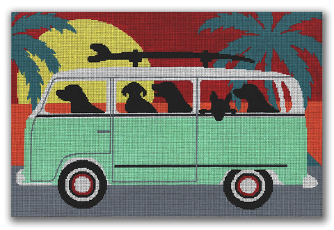 Needlepoint Handpainted CBK Beach Trip 14x9