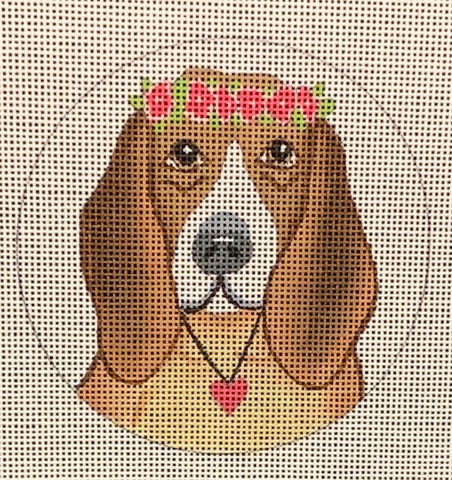 Needlepoint Handpainted CHRISTMAS Danji Beagle 4""