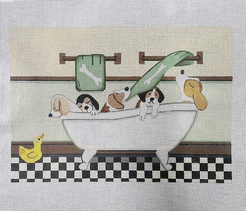 Needlepoint Handpainted Cindi Lynch BEAGLES Fill Tub 8x11