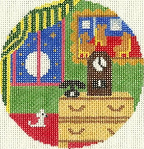 Needlepoint Handpainted Goodnight Moon Bears in Chairs 4.25""