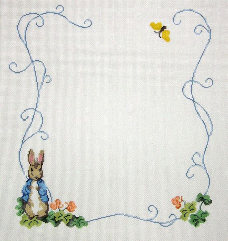 Needlepoint Handpainted BABY Beatrix Potter Birth Announcement 10x12