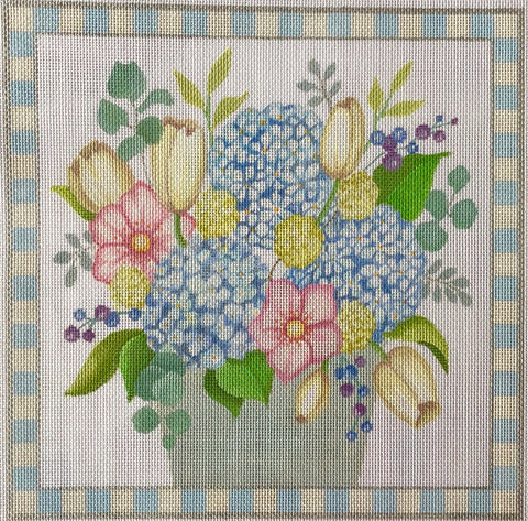 Needlepoint Handpainted Amanda Lawford Beautiful Flowers 13x13