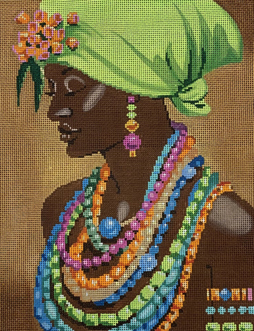 Needlepoint Handpainted Labors of Love Bejeweled Lady 13x10