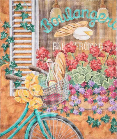 Needlepoint Handpainted Alice Peterson Bike in France 10x12