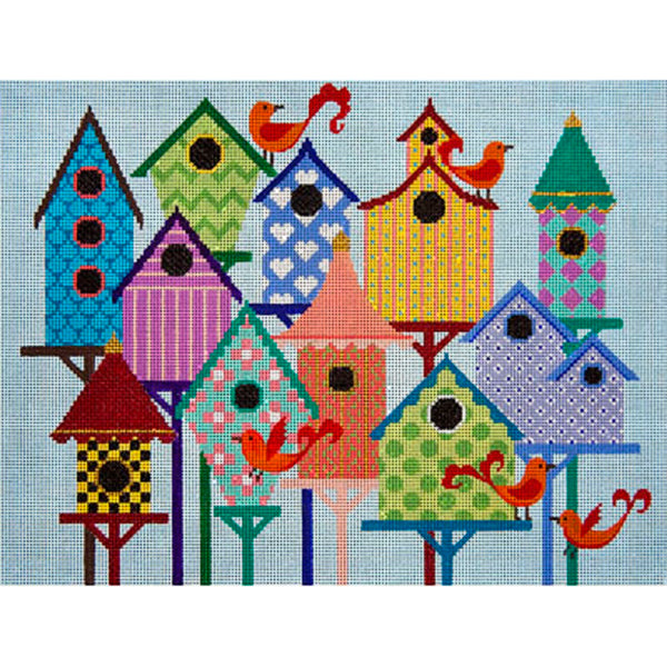 Needlepoint HandPainted JP Needlepoint BIRD CITY 11x15