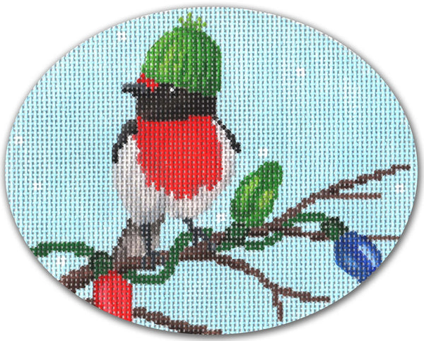 Needlepoint Handpainted CHRISTMAS CBK Birdy Lights ORNAMENT 5x4