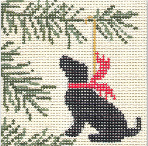 Needlepoint Handpainted Christmas CBK Black Lab Ornament 4""