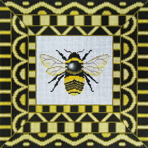 NEEDLEPOINT HandPainted Canvas Amanda Lawford BLACK BEE 11x11