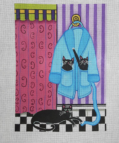 Needlepoint Handpainted Cindi Lynch Black Cats on Plush Robe 8x11